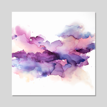 Load image into Gallery viewer, a smooth blend of paint and ink shades of pink, blue, purple pink on white canvas with a grey background