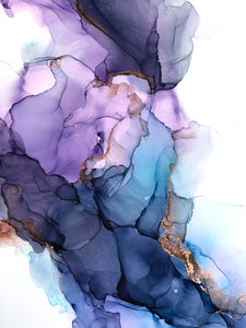 teal, purple, indigo and copper alcohol ink abstract painting 16x20 original flowing abstract art