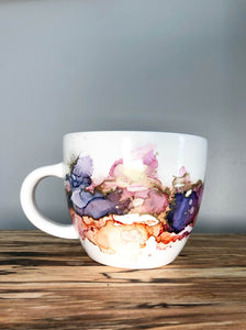 D - Alcohol Ink Hand-Painted Coffee Mug