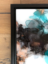 Load image into Gallery viewer, teal, black, and copper alcohol ink abstract painting 12x16 original flowing abstract art