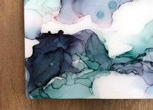 Load image into Gallery viewer, teal, indigo, hints of green alcohol ink abstract painting 8x16 original flowing abstract art