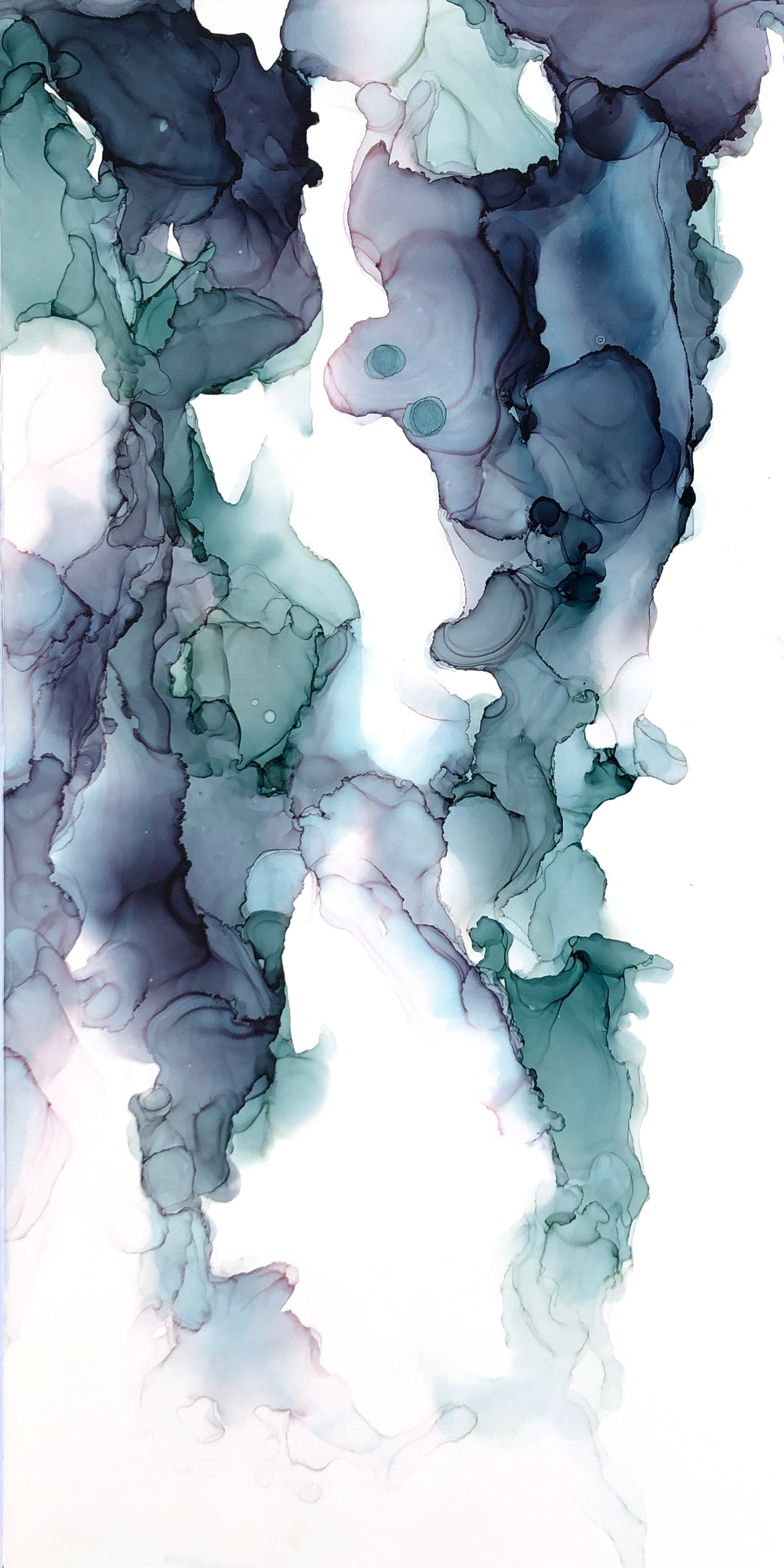 teal, indigo, hints of green alcohol ink abstract painting 8x16 original flowing abstract art
