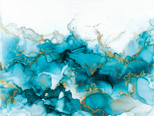 teal and gold alcohol ink abstract painting 12x16 original flowing abstract art