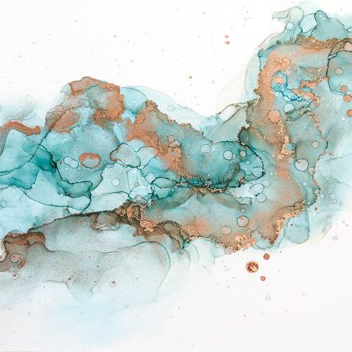 teal, white, and copper alcohol ink abstract painting 6x6 original flowing abstract art