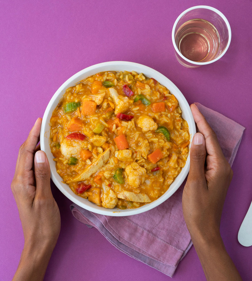 Coconut Chicken Stew with Vegetables and Rice