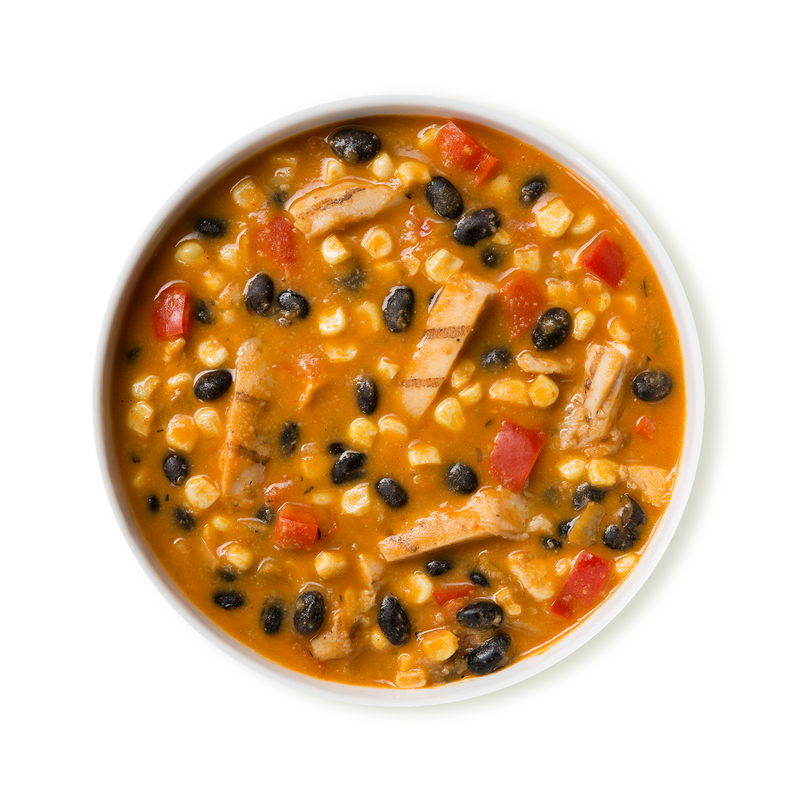 Chicken Tortilla Stew with Black Beans, Red Pepper and Corn