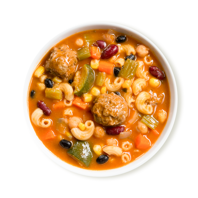 Southwestern Style Minestrone Soup with Meatballs
