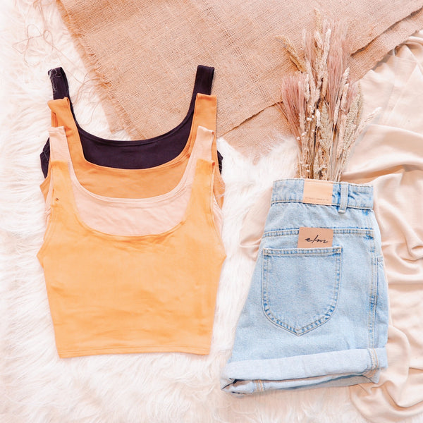 Cotton Square Neck Cropped Top