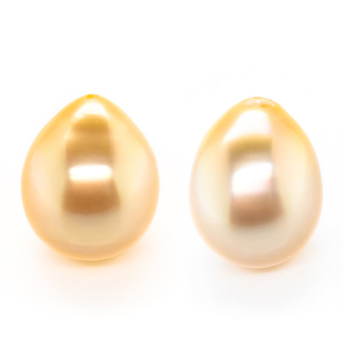 14x10mm Natural Golden Half-Drilled Freshwater Drop Pearl (PSGD1500)