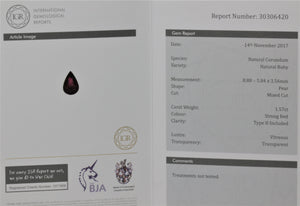8.88x5.84mm Pear-Shaped Ruby (RUP89W)