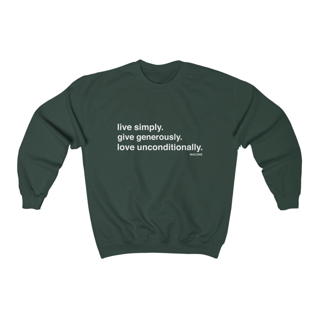 Live. Give. Love. Unisex Heavy Blend™ Crewneck Sweatshirt