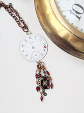 Load image into Gallery viewer, Stemwinder collection Antique pocket watch face long statement necklace Steampunk
