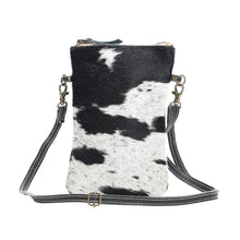 Load image into Gallery viewer, Black and White Hair On Cross Body Handbag