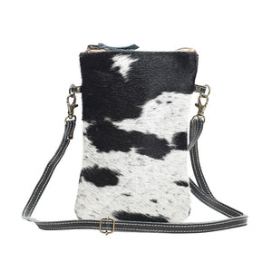 Black and White Hair On Cross Body Handbag