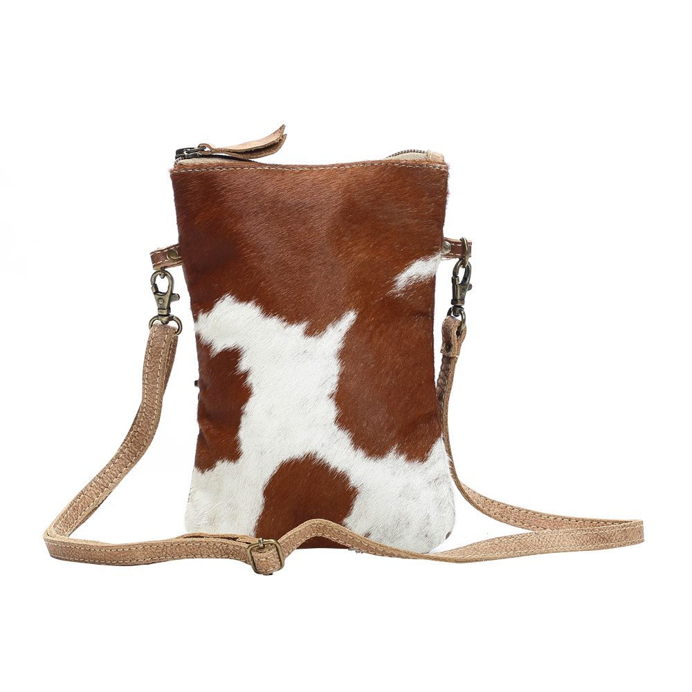 Brown and White Hair on hide cross body handbag