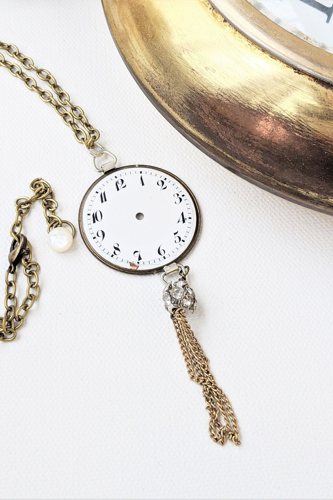 Stemwinder collection Antique pocket watch face long statement necklace Steampunk