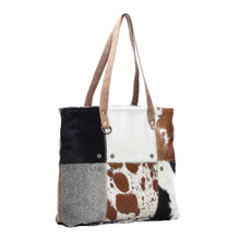 Load image into Gallery viewer, Multi Color Cowhide Patch Tote Bag
