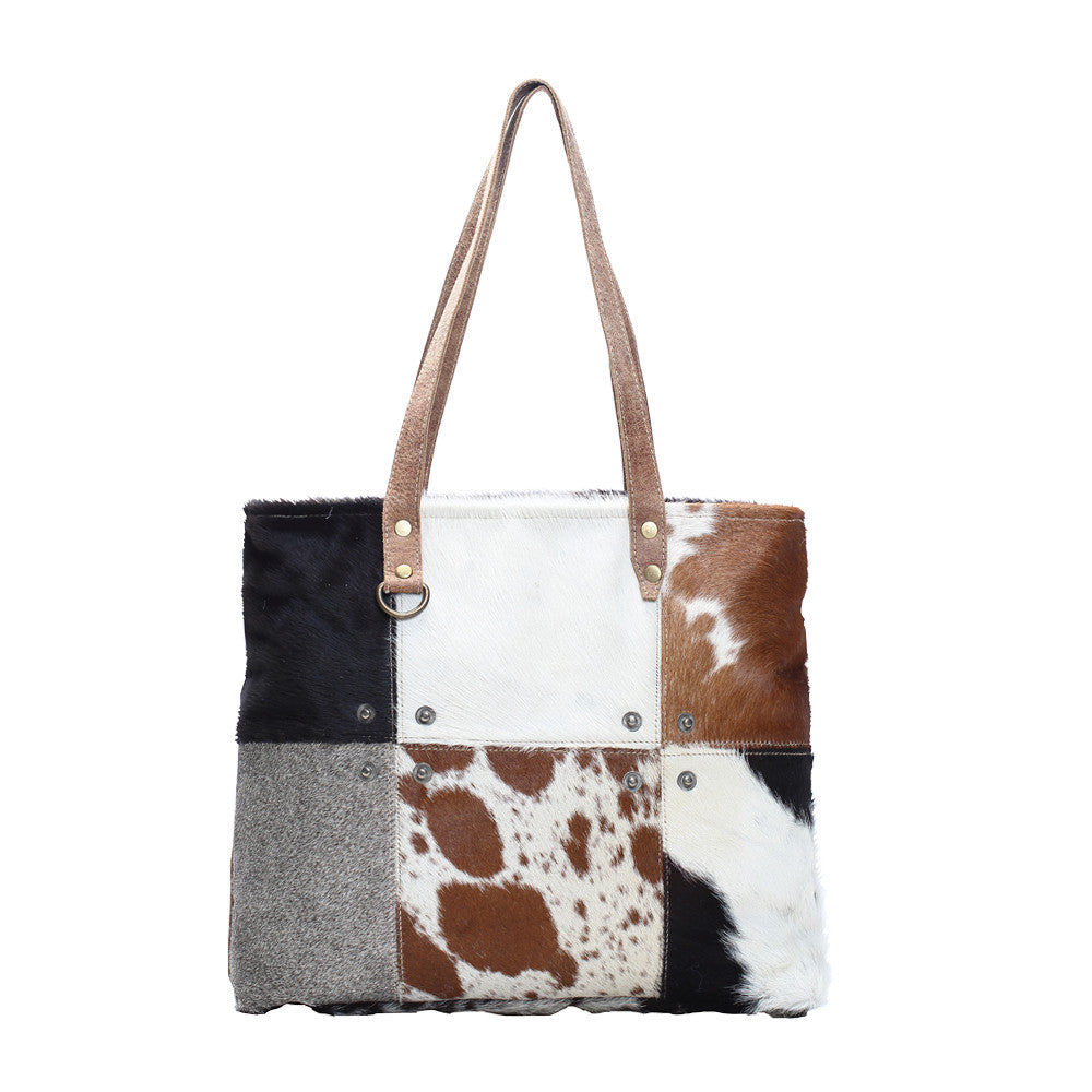 Multi Color Cowhide Patch Tote Bag