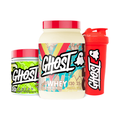 GHOST® ESSENTIALS BUNDLE - WHEY PROTEIN, PRE WORKOUT and LOGO SHAKER