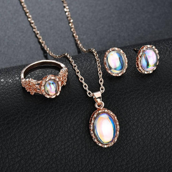 Dreamy - Opal Necklace + Ring + Earrings