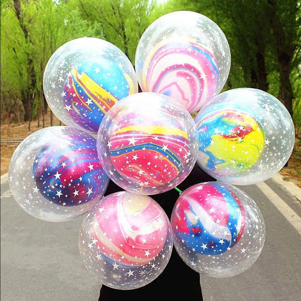 10 Double Marble Color Balloons