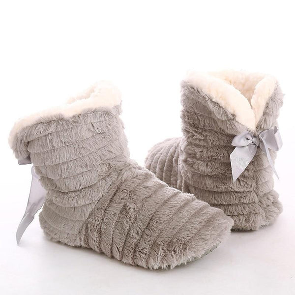 Soft Plush Butterfly Knot Ribbon Shoes