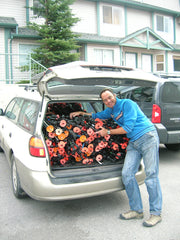 Ben Stephenson collects ski poles in Canada