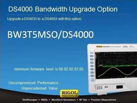 BW3T5-MSO/DS4000 estensione banda a 500MHz  Upgrade Option