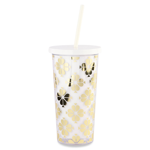 Kate Spade New York Tumbler with Straw - Gold Spade Flower