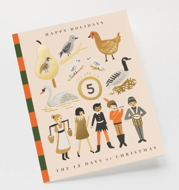 Rifle Paper Co. 12 Days of Christmas Story Christmas Card SET