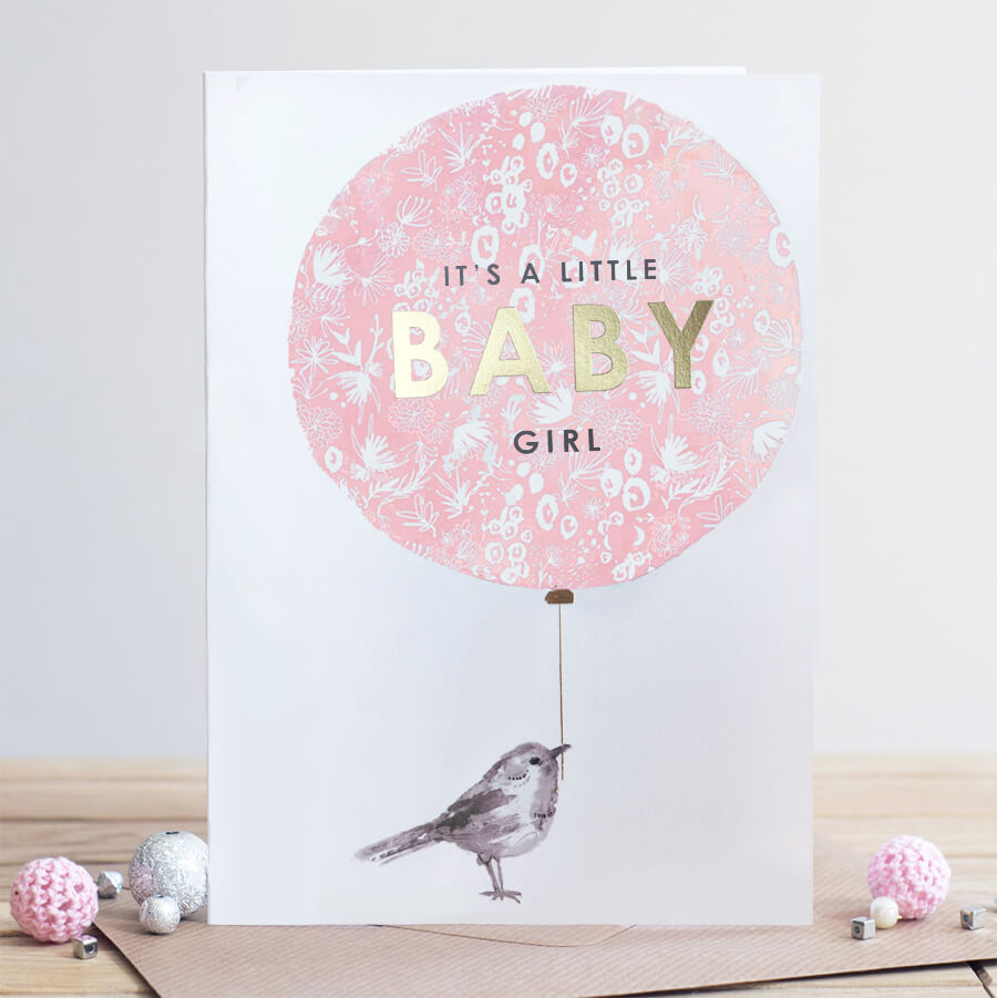 Louise Tiler Baby Girl Balloon Card