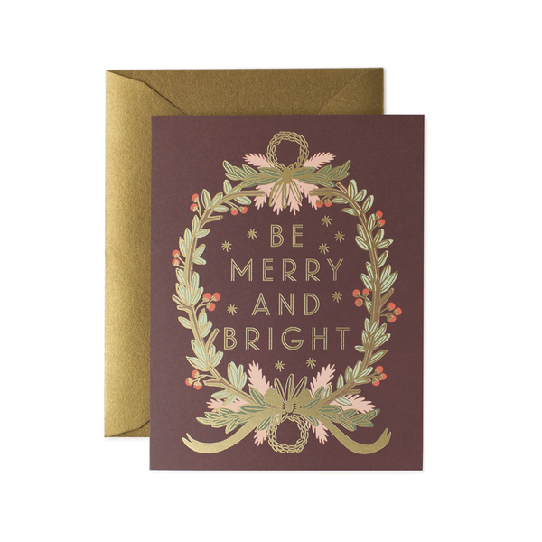 Rifle Paper Co. Be Merry and Bright Wreath Christmas Card
