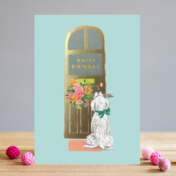 Louise Tiler Birthday Dog At The Door Card