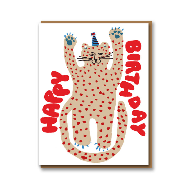 Egg Press Party Cheetah Birthday Card