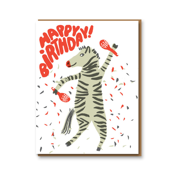 Egg Press Party Zebra Birthday Card