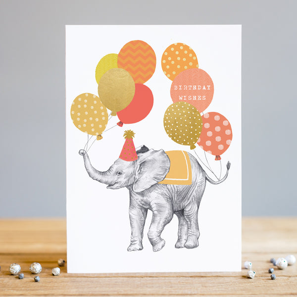 Louise Tiler Elephant Balloons Birthday Card