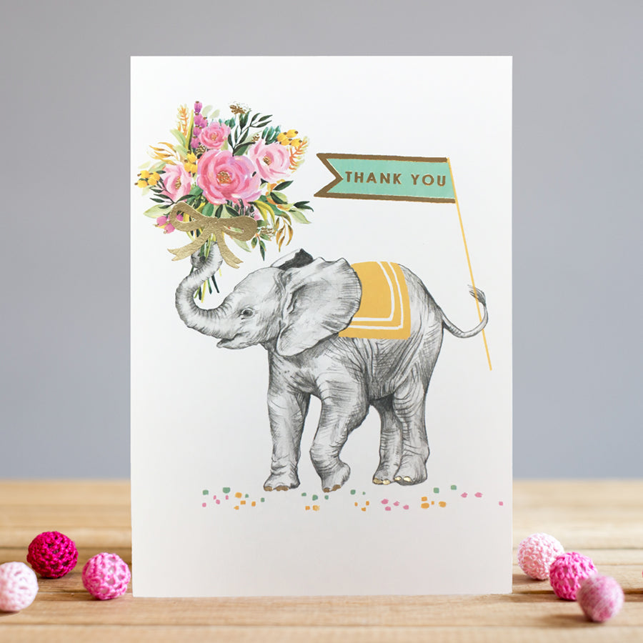 Louise Tiler Elephant Bouquet Thank You Card