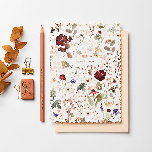 Katie Leamon Heirloom Pressed Floral Birthday Card