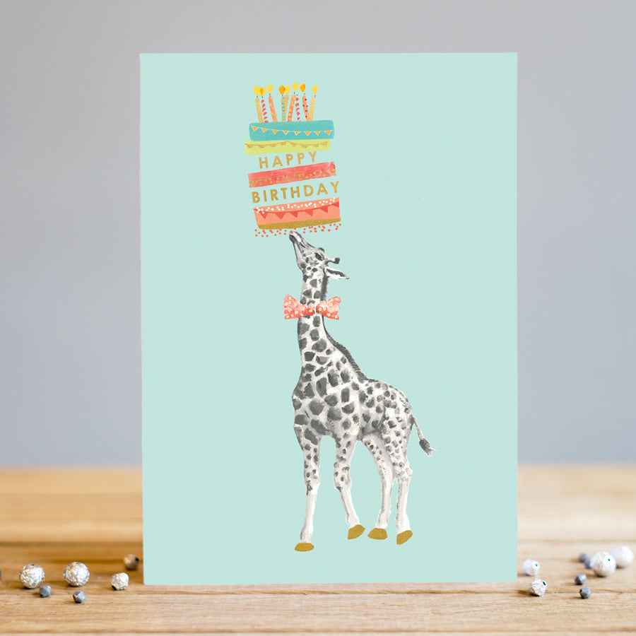 Louise Tiler Giraffe Cake Birthday Card