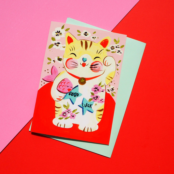 Eleanor Bowmer Lucky Cat Card