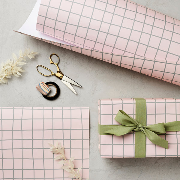 Katie Leamon Pink Grid Gift Wrap