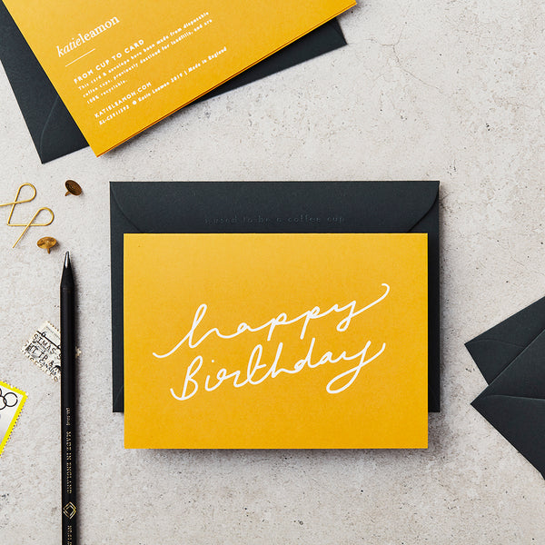 Katie Leamon Extract Happy BIrthday Scroll Mustard Card