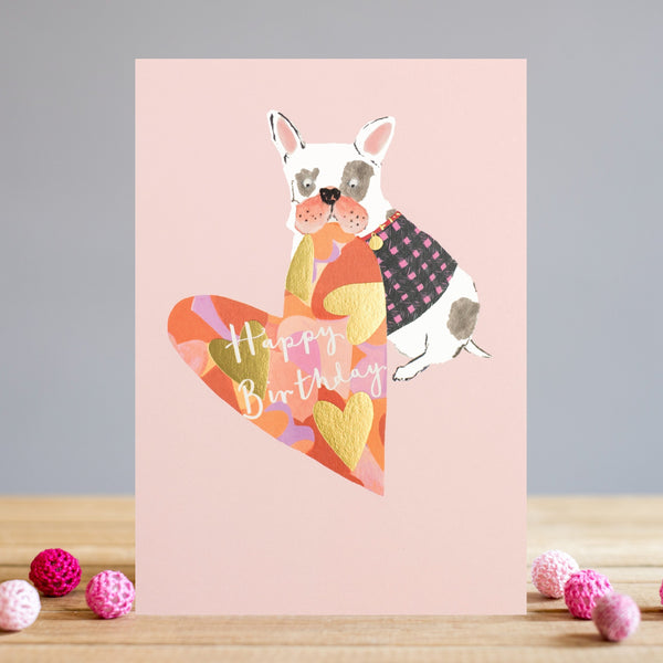 Louise Tiler Heart & Dog Birthday Card