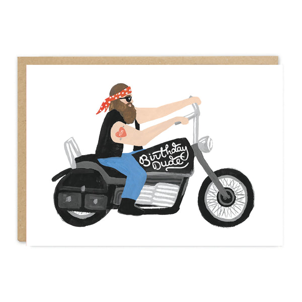 Jade Fisher Sevz Birthday Card - Biker Dude