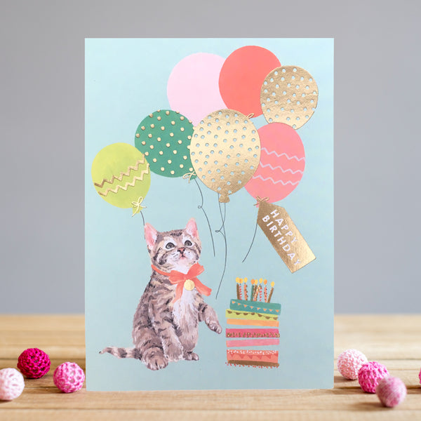 Louise Tiler Kitten & Balloons Birthday Card