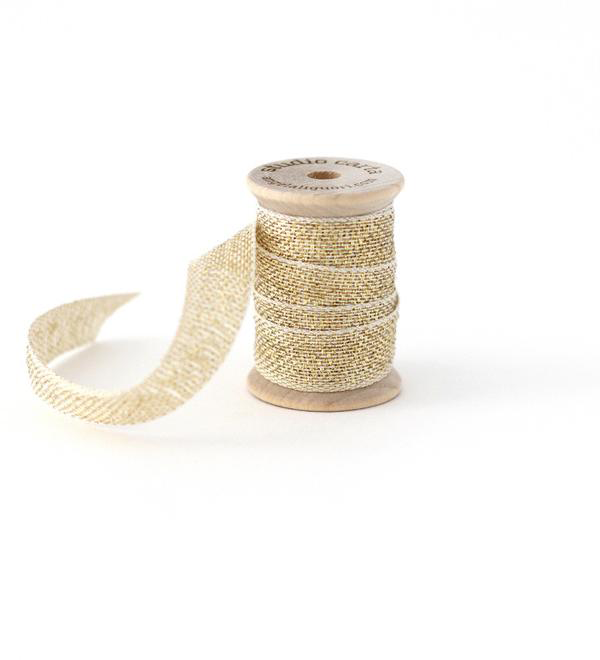 Studio Carta Metallic Loose Weave Ribbon - Natural & Gold