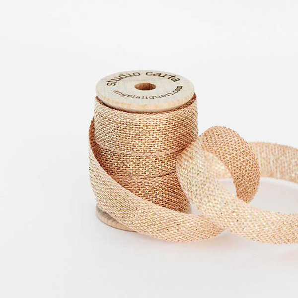 Studio Carta Metallic Loose Weave Ribbon - Blush & Gold