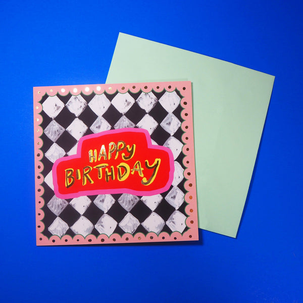 Eleanor Bowmer Black & White Check Birthday Card - Mood 8
