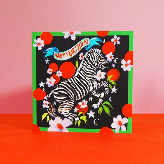 Eleanor Bowmer Funky Zebra Birthday Card - Mood 1