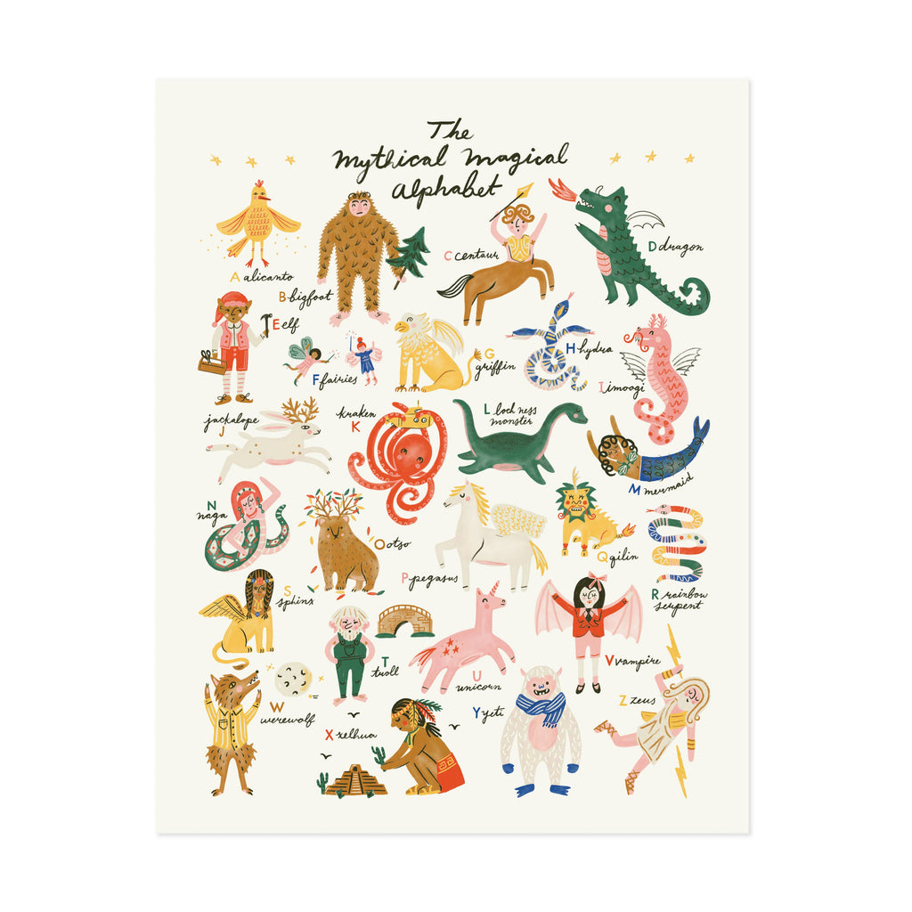 Little Low Mythical Magical Alphabet Art Print
